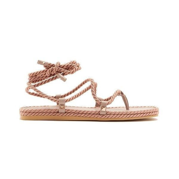 Valentino Satin rope wraparound sandals (3,570 CNY) ❤ liked on Polyvore featuring shoes, sandals, nude, bohemian sandals, wrap around sandals, anchor sandals, wrap around ankle sandals and valentino shoes