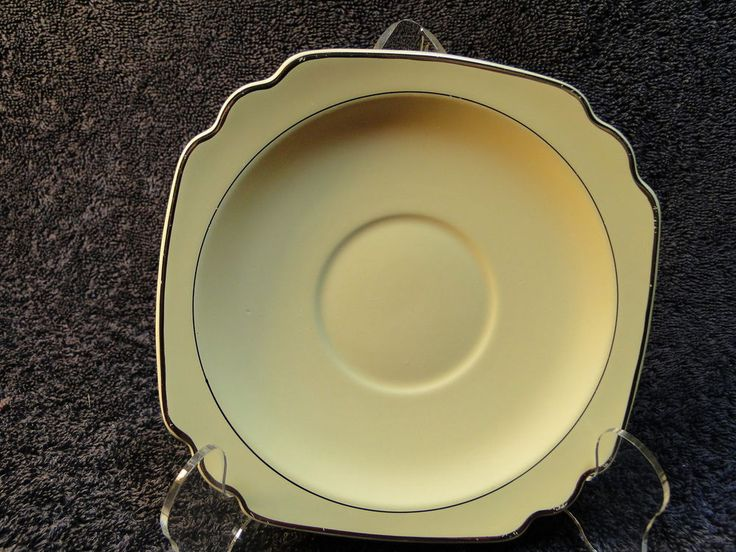 Homer Laughlin Century Shape Vellum Saucer Cream Platinum Trim EXCELLENT! #HomerLaughlin