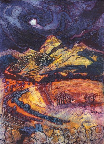 Moon Rising: Autumn Peaks, Collagraph, 33x23cm