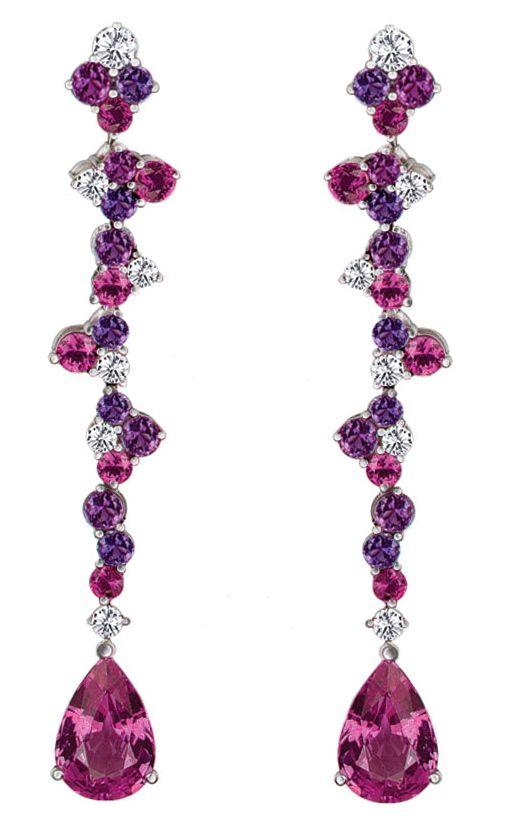 "Mark Patterson ""Pink Stilettos"" Pink and Purple Sapphires with Diamonds.: Chandelier Earrings, Diamond Earrings, A Jewelry Earring, Sparkle, Bling Earrings"