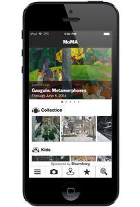 The MoMA App, mozna stworzyc swoja kolekcje, mozna zaznaczyc ulubione miejsca, kamera, kalendarz, mapa,