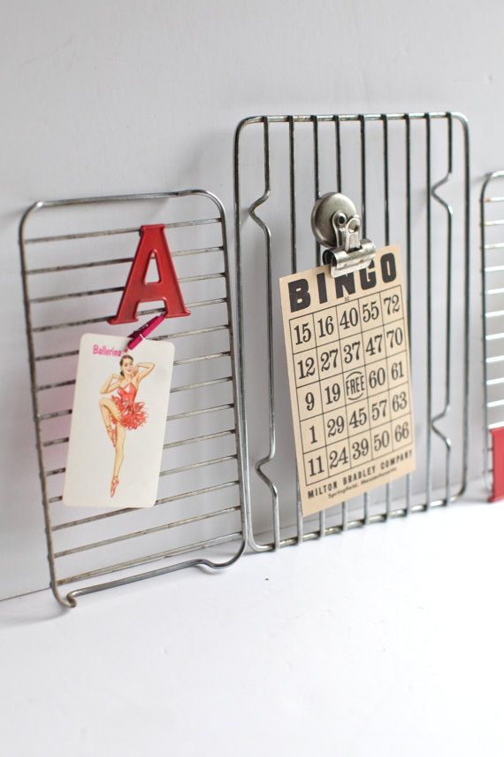 Great idea!  Small Wire cooling racks repurposed memo by thisvintagething