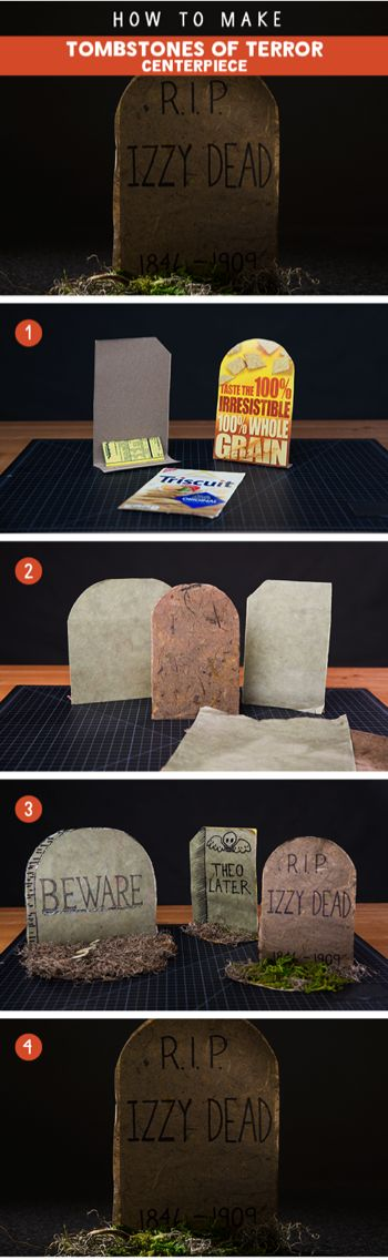 This DIY sets the mood for spooky fun by bringing discarded packaging back to life. You'll need empty NABISCO boxes, Halloween craft paper, markers, a glue-gun, scissors, and moss. Add some fun names, dates and warnings to showcase your creepy creativity.