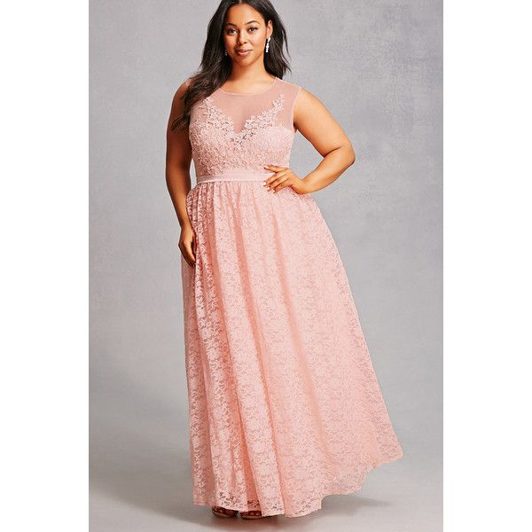 Forever21 Plus Size Crochet Lace Gown ($78) ❤ liked on Polyvore featuring plus size women's fashion, plus size clothing, plus size dresses, plus size gowns, blush, pink ball gown, cap sleeve gown, pink floral dress, full length gowns and floral gown