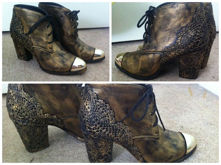 these were some random shoes I found, using old doilies I steampunked them. copper rubb'n'buff is my fav thing at the moment