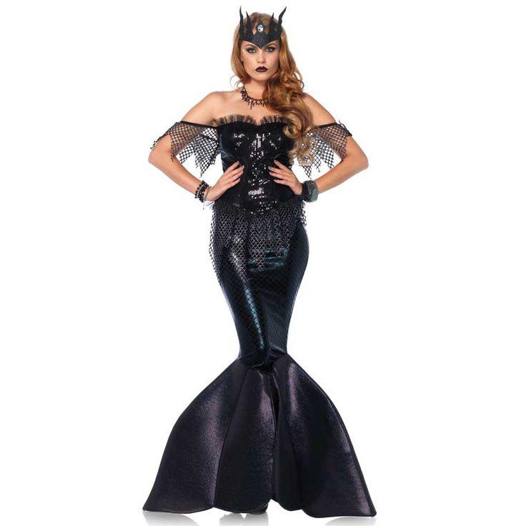 Dark Water Mermaid zeemeermin kostuum jurk zwart - kostuum jurk Party Halloween