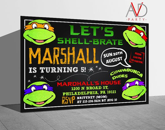 Teenage Mutant Ninja Turtle Birthday Invitation TMNT by avidastore
