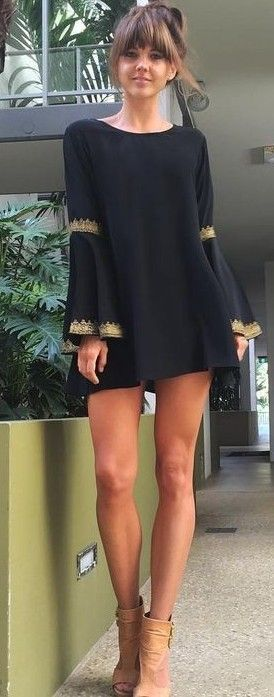#summer #australian #fashionista #outfits | Black Boho Little Dress
