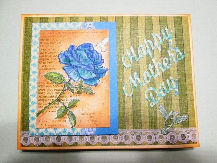 Rare blue watercolored rose Happy Mother's Day, Mom, Grandmother, Mother-in-law, Sister, Daughter