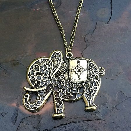 Antiqued Gold Plated Filigree Elephant Pendant with Long Chain