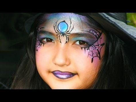 Eine hübsche Hexe schminken / Hexengesicht Kinderschminken Vorlage für Halloween - YouTube