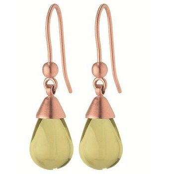 Drop Earrings. Length 30 mm. Stainless steel. Rose gold Plated. Lemon quartz length 9 mm. 10 years warranty