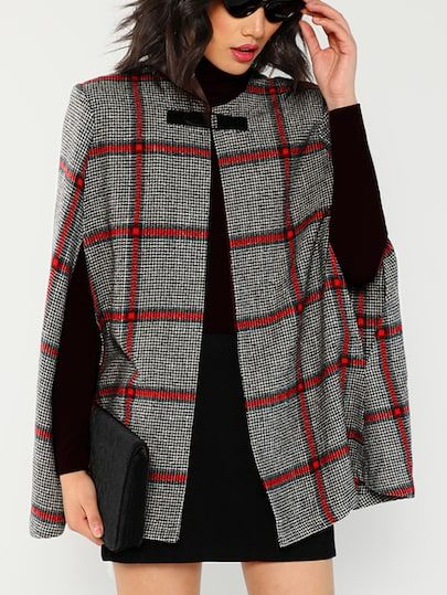 93cf8addf5f women's coats for winter plus size. Shop Plaid Poncho Coat online. SheIn  offers Plaid Poncho Coat & more to fit your fashionable needs.
