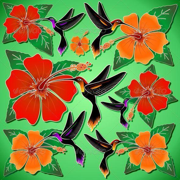 SOLD - #Hummingbird and #Hibiscus #Batik #Pattern | #Vector #Art by #BluedarkArt on #GraphicRiver   http://graphicriver.net/item/hummingbird-and-hibiscus-batik-pattern/6853532