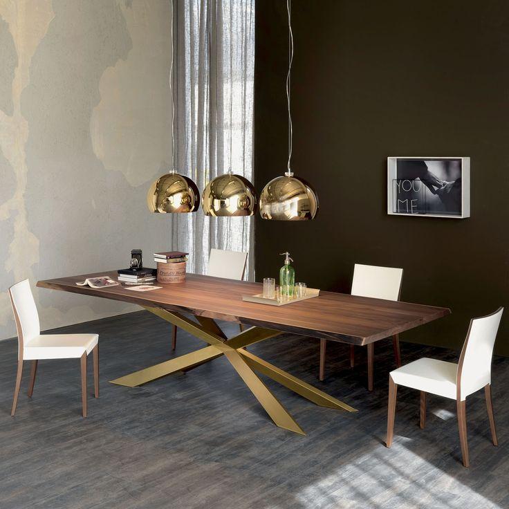Tavolo da conferenza Spyder con piano in legno massello