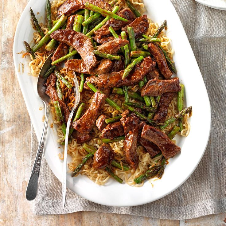 Asparagus Beef Lo Mein Recipe -This springtime beef stir-fry is as easy as it gets. Ramen noodles make it extra fun. —Dottie Wanat, Modesto, California