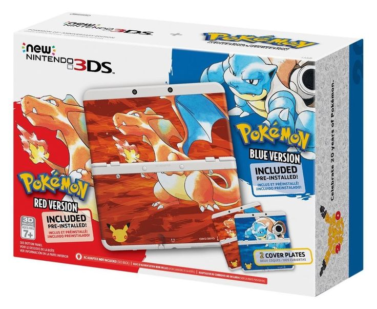 New Nintendo 3DS Pokemon 20th Anniversary Red & Blue Edition Console Bundle #Nintendo