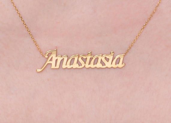 e3985f4b0c925 Any Name, Solid Gold Name, 14k Name Necklace, CUSTOM NAME NECKLACE ...
