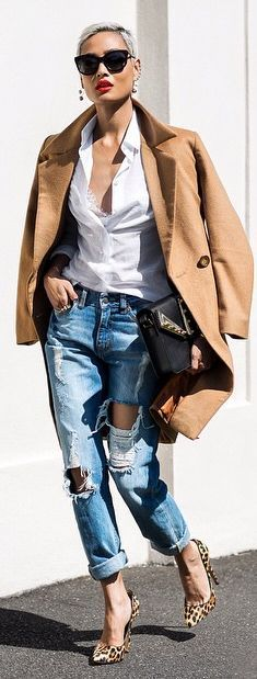 Distressed Denim Boyfriend Jeans                                                                                                                                                                                 More