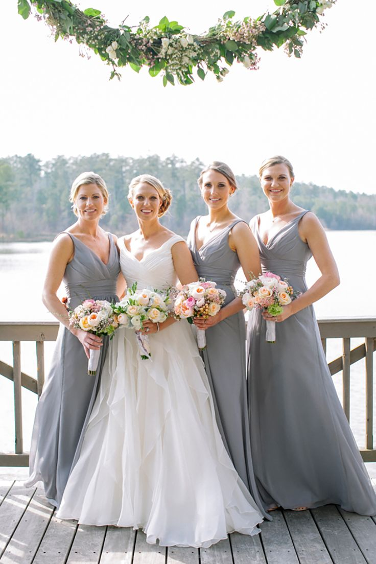 Soft grey bridesmaid dresses