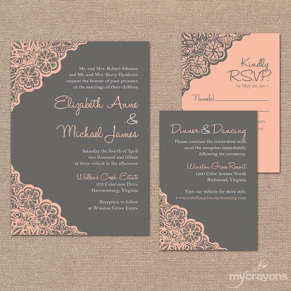 Printable Wedding Invitation Set // Rustic Lace by MyCrayonsDesign