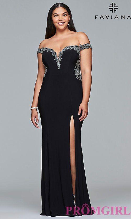 8cf30e99d888 Plus-Size Prom Dress with an Off-the-Shoulder Neckline