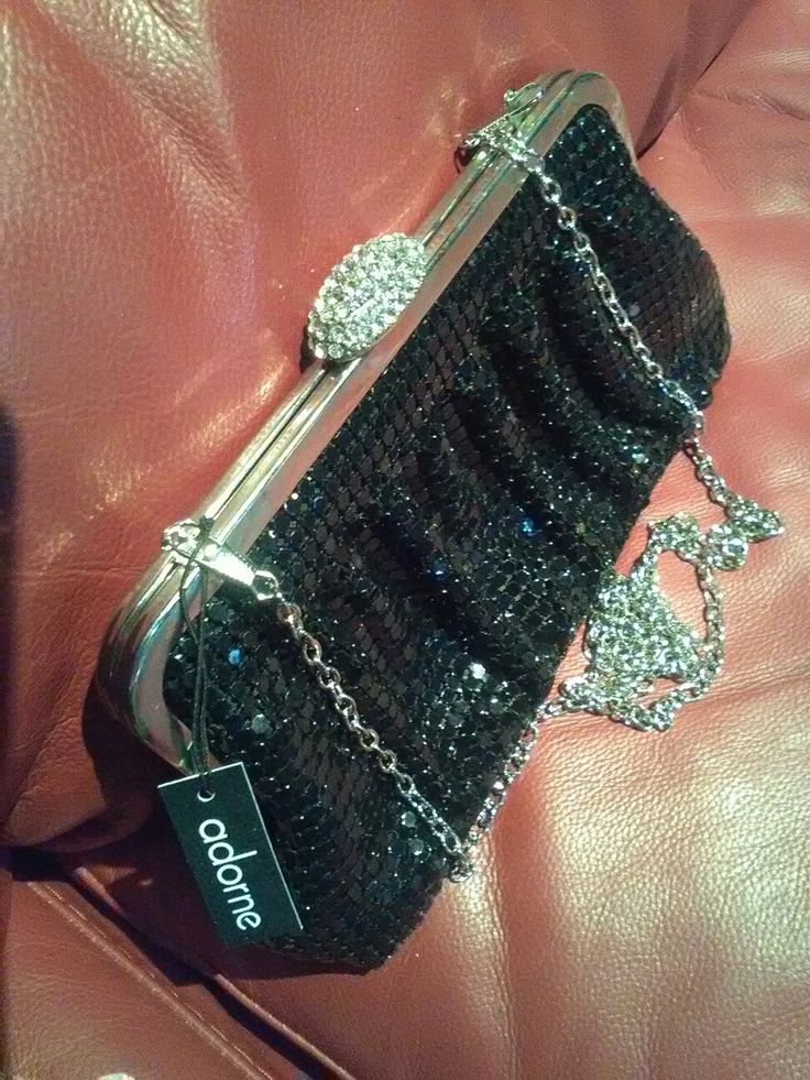 adorne gathered mesh clutch with diamante clasp in black and silver