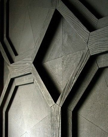 Like the different shapes used in this panelling Blacksheep UK | Whiskey Mist club (detail)