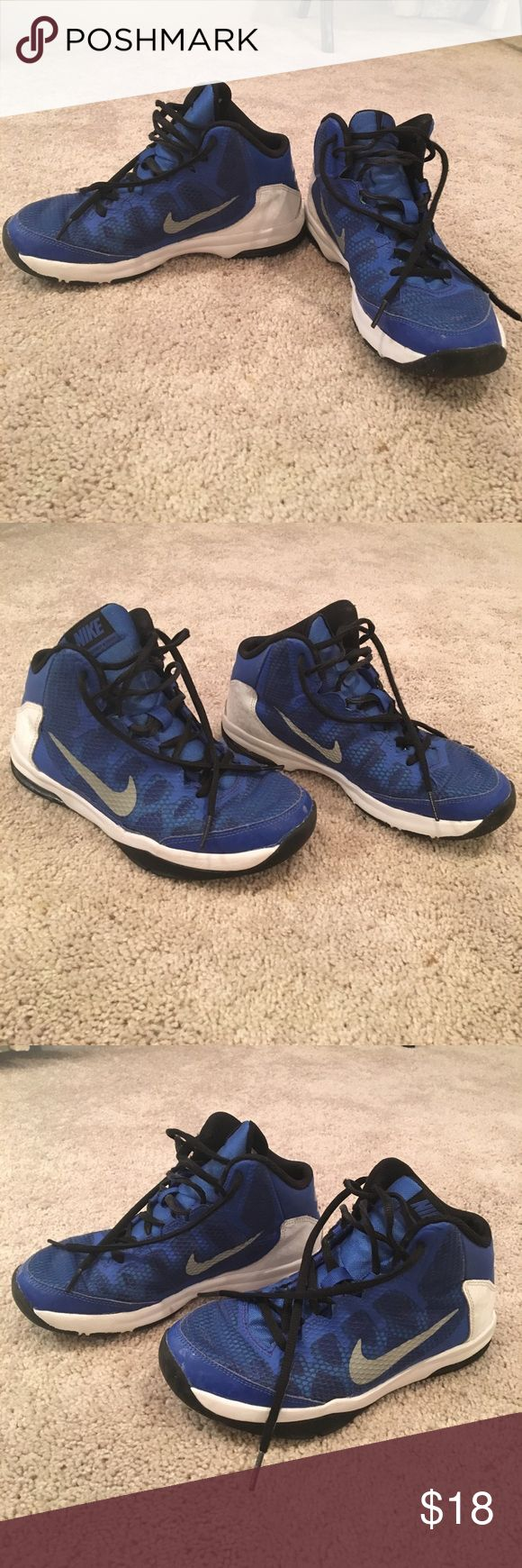 Nike basketball shoes 4y blue and white. Nike basketball shoes 4y blue and white. Used one basketball season. In good and clean shape. One scuff on the right front shoe. Nike Shoes Sneakers