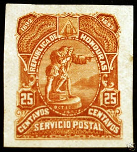 Honduras 25c Yellow-Brown 1892 Imperf Plate Proof Rare
