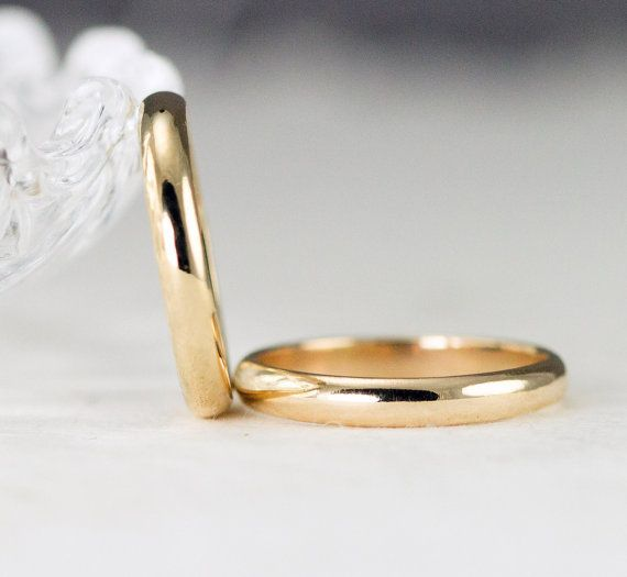 This lovely 18k gold ring is 3x1 mm and is created with 100% eco friendly recycled metal. The Half Round classic wedding band in yellow gold is suitable for women or men who want a narrow band. These lovely wedding bands are entirely hand fabricated with 3 x 1mm half round aka half dome solid 18k gold stock wire. This lovely symbol of your love for each other is simple and elegant and is made to give you a lifetime of wear. The band can be finished polished as shown, hammered for a more…