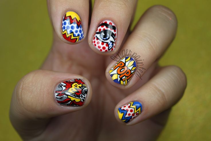 I am pinning this piece of pop art because it is pop art but it is nails that I think are super cool! And I really love to do nails! - Alivia