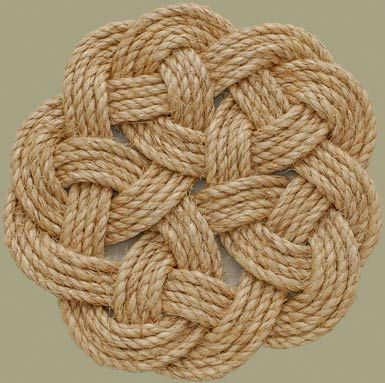 """Classic Turk's Head weave. 10 meters of rope needed to make a 10.5"""" table mat."""