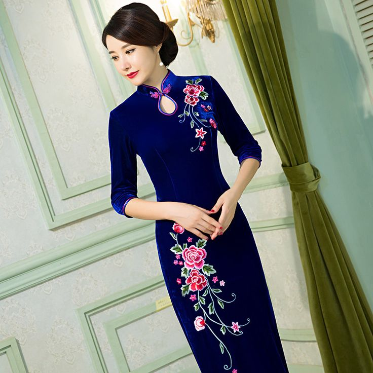 Find More Cheongsams Information about Chinese Traditional Clothing Embroidery Cheongsam Mermaid Dresses Half Sleeve Long Qipao Great for Wedding Prom Party Cocktail,High Quality dresses heart,China qipao cheongsam Suppliers, Cheap dress shoes for men from June Moon on Aliexpress.com