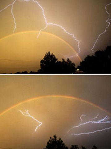 Rare Picture of Lightning & Rainbow ~ Lightning usually occurs during heavy storms while rainbows generally form after the rain has stopped, making an appearance of both simultaneously relatively rare. This clash of weather below, was seen above Fort Smith, in Arkansas, USA.