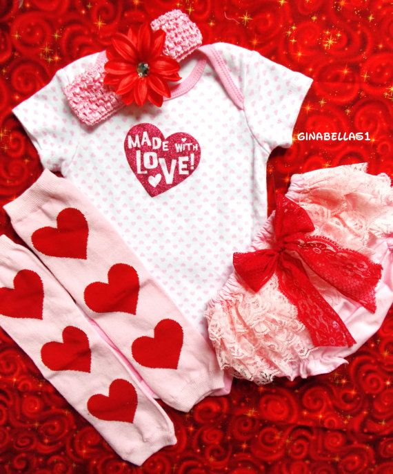 Valentines Day Baby Girl Onesie First Outfit Pink Love Legwarmers Dress Up  Lace Bloomer Lily Headband Bow Bodysuit Newborn 0 3 6 9 M Toddler