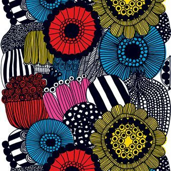 The stylish oilcloth Siirtolapuutarha from Marimekko was designed by Maija Louekari in 2009 and has been since then a very popular pattern, also available as a fabric and in a bowls decòr version. The oilcloth is perfect for outdoors in summer and indoors the rest of the year as a beautiful tablecloth.