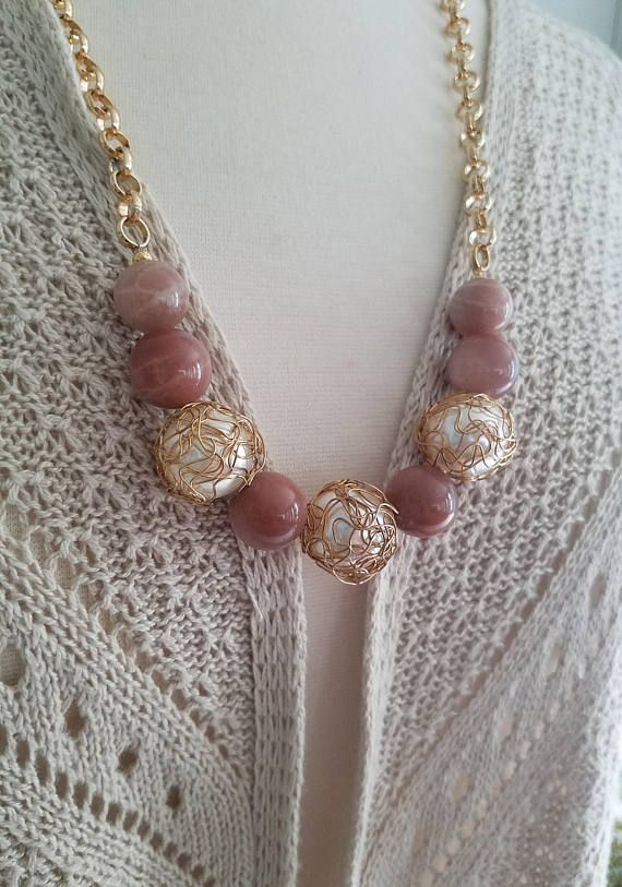 Moonstones and Pearl Necklace Moonstone Necklace Pearl