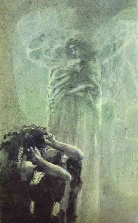 Mikhail Vrubel, Demon and Angel with the Soul of Tamara, 1891. Watercolor on paper. The Museum of Russian Art, Yerevan.