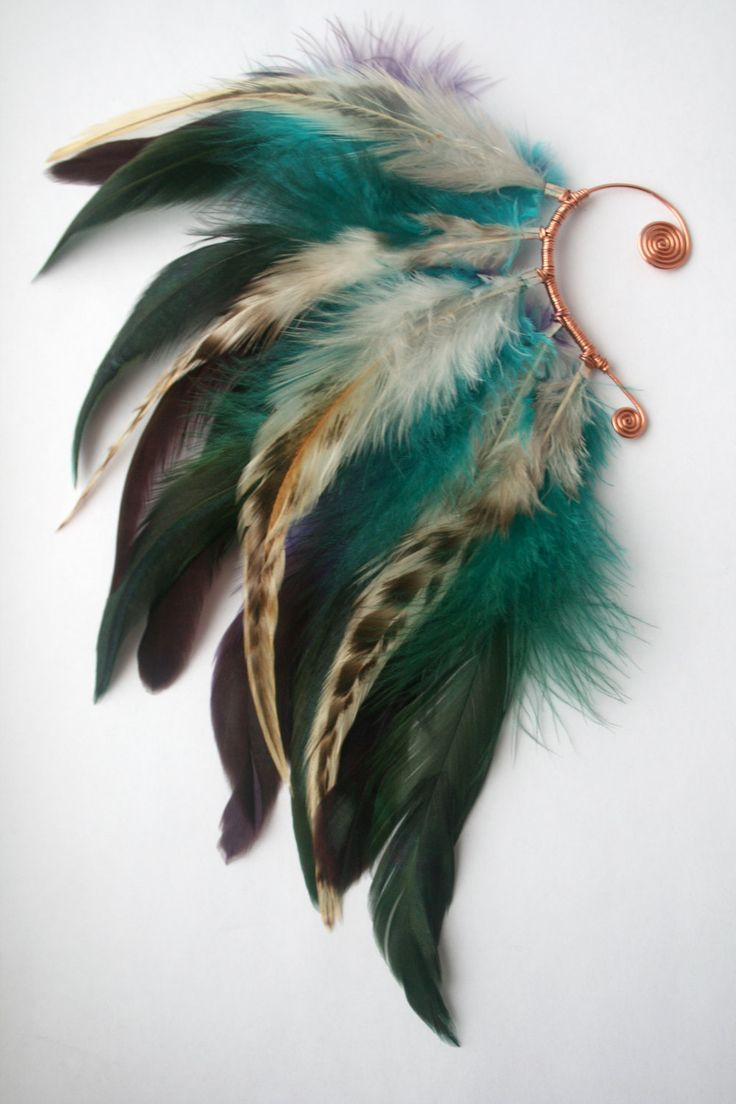 Turquoise and Purple Feather Ear Wrap Ear Cuff by shiannecb, $35.00