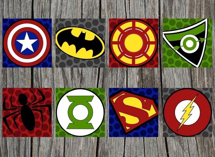 Textured superhero logos: Captain America, Batman, Iron Man, Green Arrow, Spider-Man, Green Lantern, Superman, The Flash.
