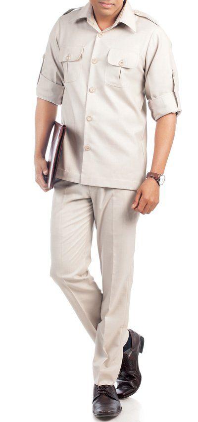 Cream safari Suit for men online, custom suits for men