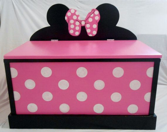 could easily make this here's the link for those that don't want to put labor into it Minnie Mouse Toy Box by SassySisterStuff on Etsy, $220.00