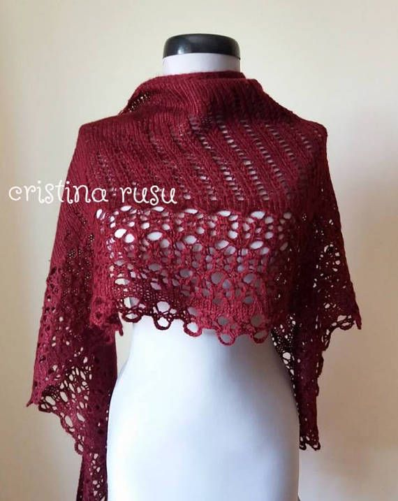 Burgundy hand knitting lace shawl   bordeaux mohair shawl