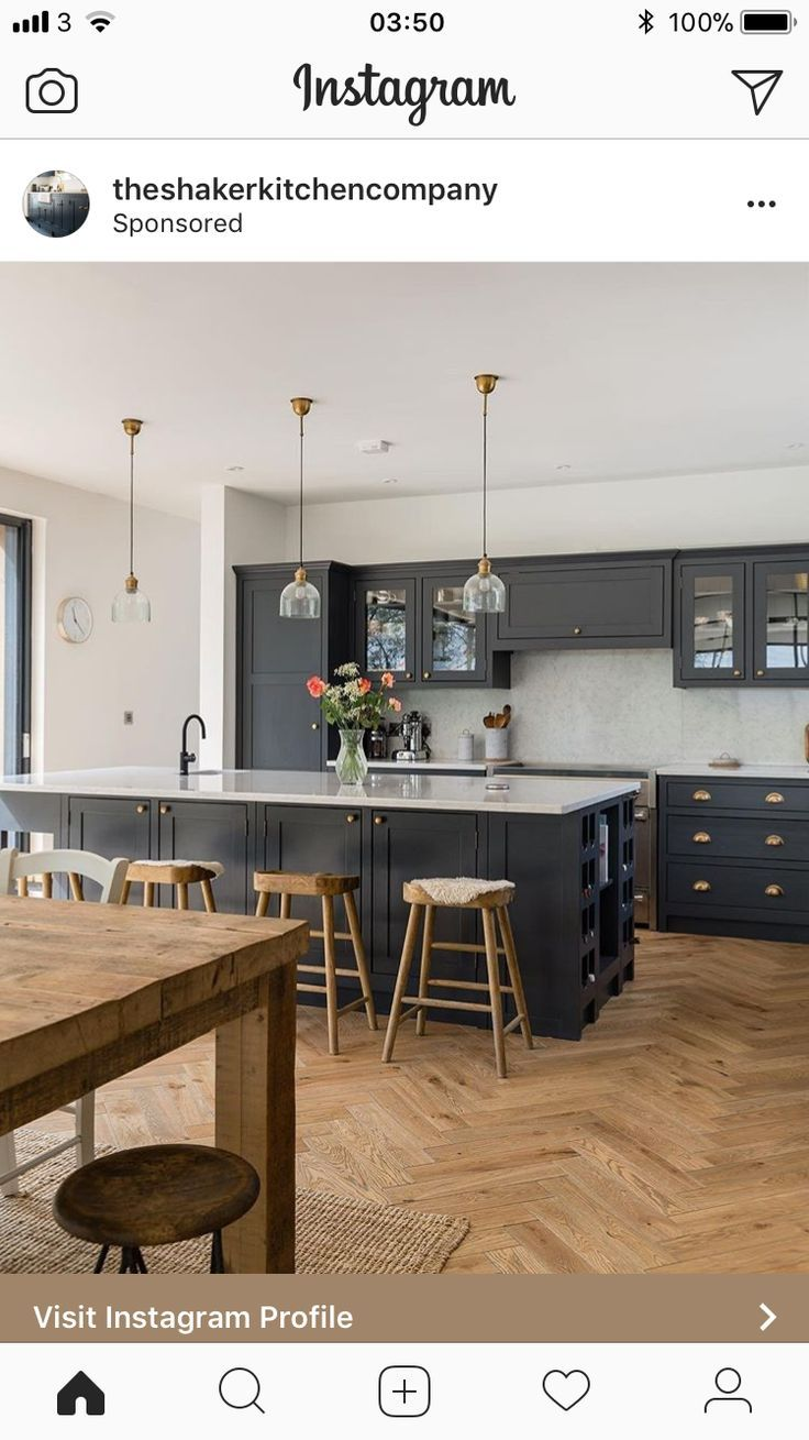 Love The Large Scale Parquet Flooring Open Plan Kitchen Living Room Open Plan Kitchen Dining Living Kitchen Dining Living #open #plan #kitchen #living #room #flooring #ideas