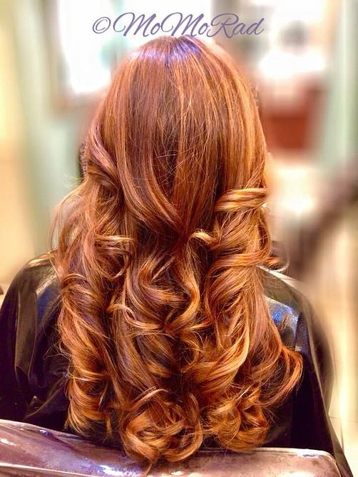 Copper red and gold balayage highlights