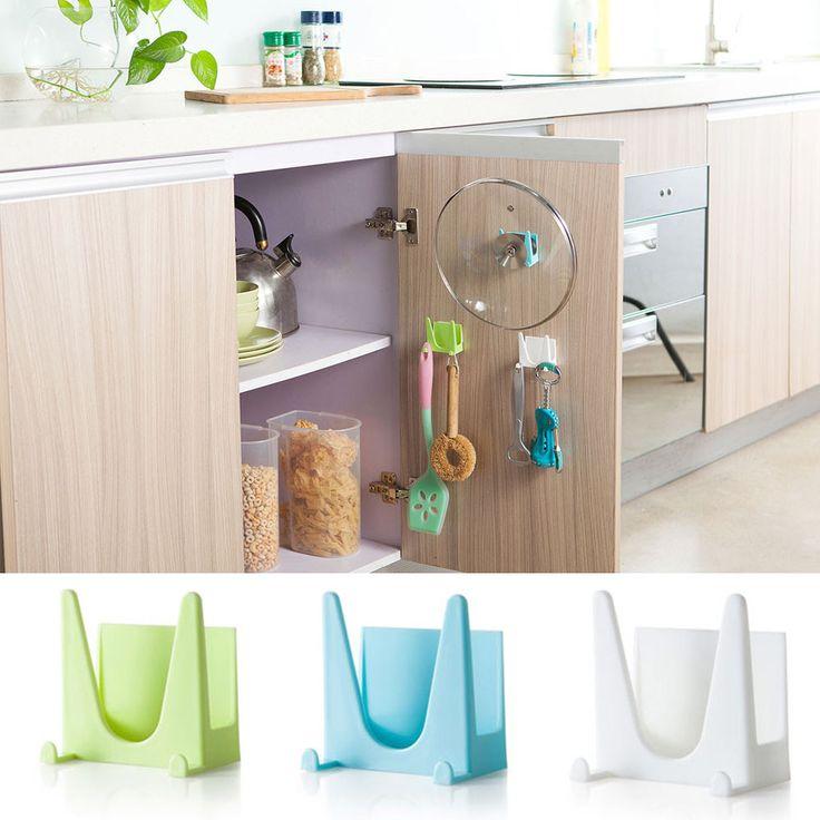 Selamat Hadiah Menakjubkan Plastik Kitchen Pot Pan Penutup Shell Penutup Pengisap Alat Penyimpanan Braket Kualitas Tinggi