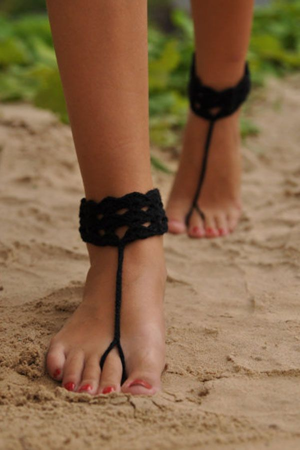 Black Anklet Crochet Assorted Colors Barefoot Sandals, Nude Shoes, Foot Jewelry, Anklet , Beach Pool