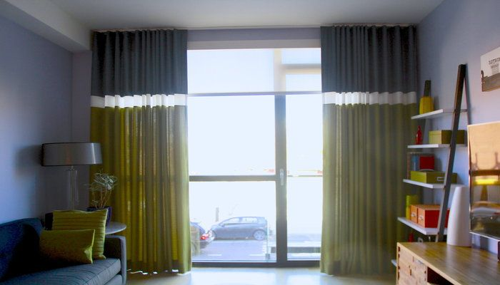 Dr. Shade Design of the Month: Give your living space fresh energy with the lively, vintage-style colorblock drapes.