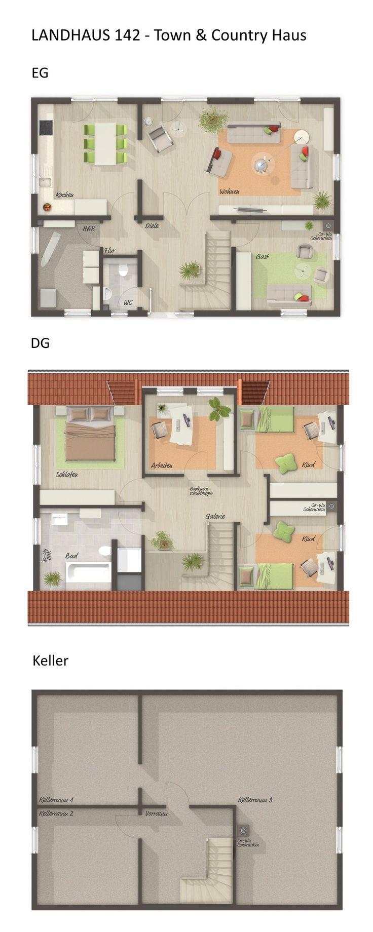 Einfamilienhaus Grundriss rechteckig mit Satteldach Architektur & Gaube – 6 Zimmer, 140 qm, Erdgeschoss offen mit Büro, Obergeschoss 3 Kinderzimmer, …